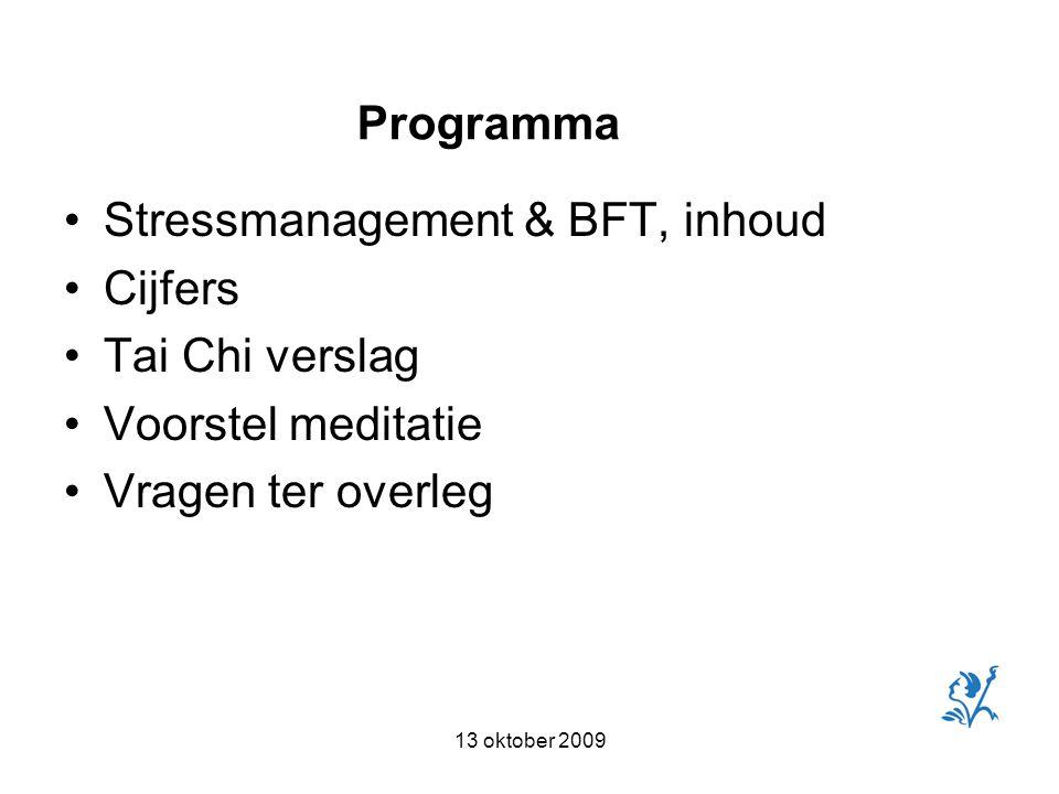 13 oktober 2009 Stressmanagement & BFT, inhoud Cijfers Tai Chi verslag Voorstel meditatie Vragen ter overleg Programma