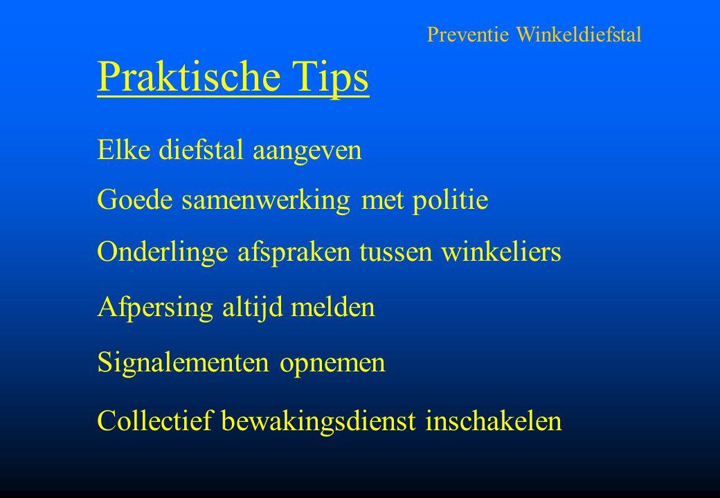 Preventie Winkeldiefstal Praktische Tips Elke diefstal aangeven Goede samenwerking met politie Onderlinge afspraken tussen winkeliers Afpersing altijd