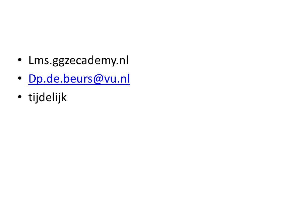 Lms.ggzecademy.nl Dp.de.beurs@vu.nl tijdelijk