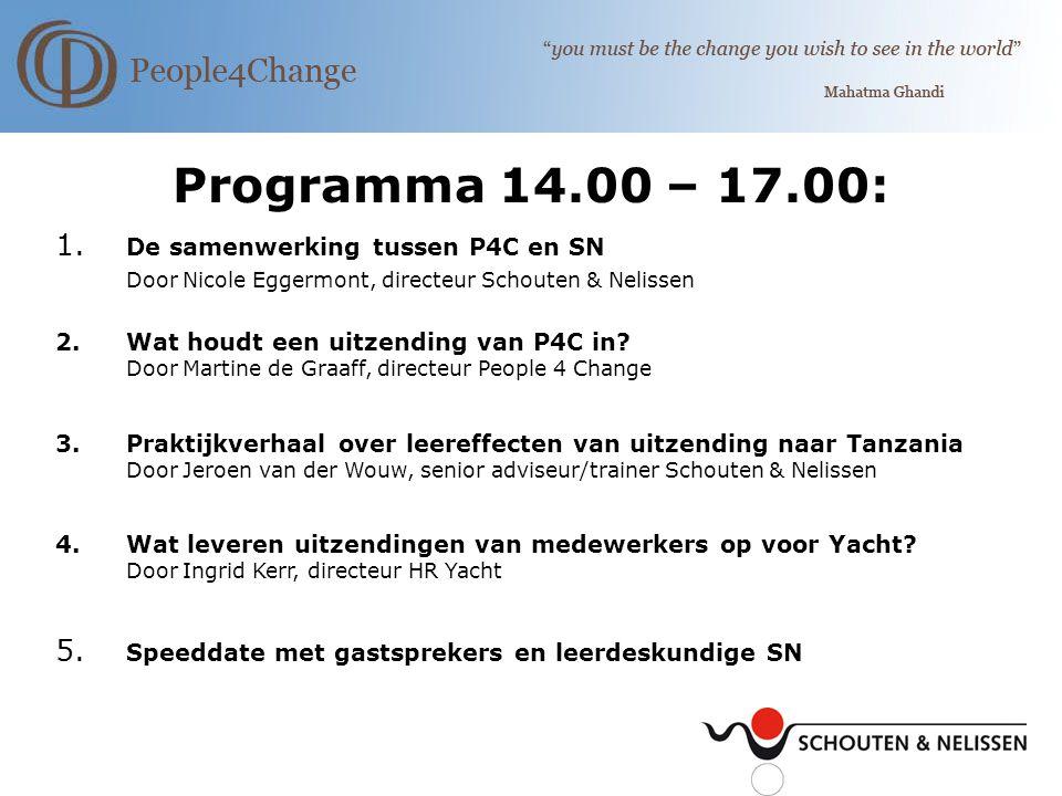 Programma 14.00 – 17.00: 1. De samenwerking tussen P4C en SN Door Nicole Eggermont, directeur Schouten & Nelissen 2.Wat houdt een uitzending van P4C i