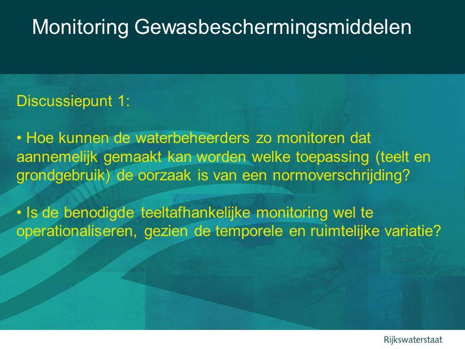 Monitoring Gewasbeschermingsmiddelen Discussiepunt 1: Hoe kunnen de waterbeheerders zo monitoren dat aannemelijk gemaakt kan worden welke toepassing (