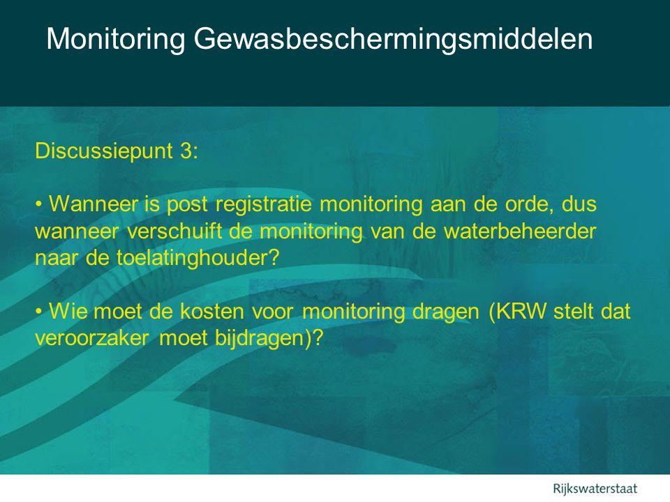 Monitoring Gewasbeschermingsmiddelen Discussiepunt 3: Wanneer is post registratie monitoring aan de orde, dus wanneer verschuift de monitoring van de