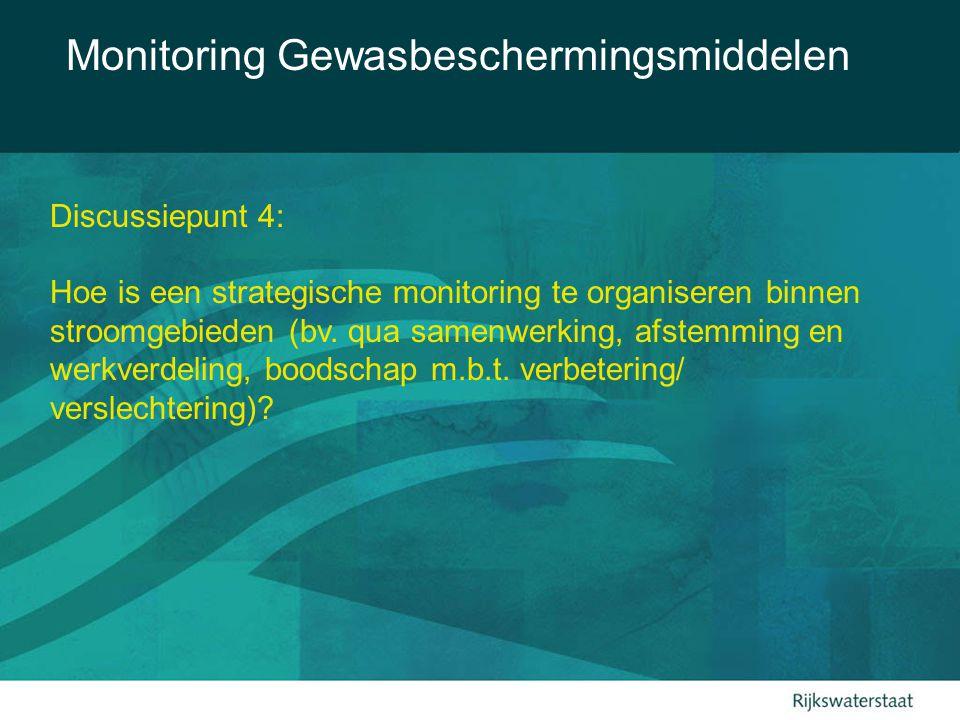 Monitoring Gewasbeschermingsmiddelen Discussiepunt 4: Hoe is een strategische monitoring te organiseren binnen stroomgebieden (bv. qua samenwerking, a