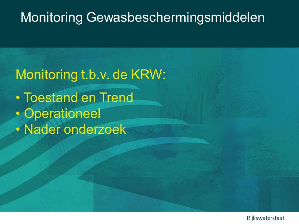 Monitoring Gewasbeschermingsmiddelen Boodschap uit Tussenevaluatie Nota Duurzame Gewasbescherming: Focus op belangrijkste probleemstoffen, omdat daarmee de milieubelasting het meest wordt gereduceerd.