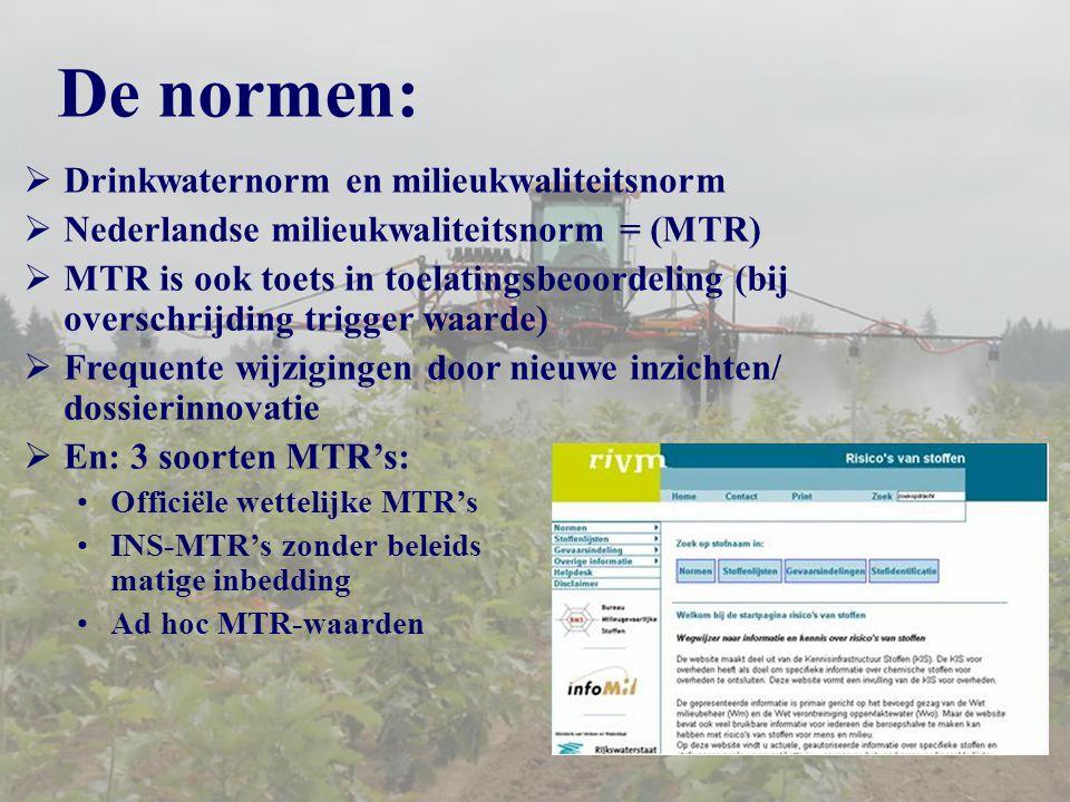 De normen:  Drinkwaternorm en milieukwaliteitsnorm  Nederlandse milieukwaliteitsnorm = (MTR)  MTR is ook toets in toelatingsbeoordeling (bij overschrijding trigger waarde)  Frequente wijzigingen door nieuwe inzichten/ dossierinnovatie  En: 3 soorten MTR's: Officiële wettelijke MTR's INS-MTR's zonder beleids matige inbedding Ad hoc MTR-waarden