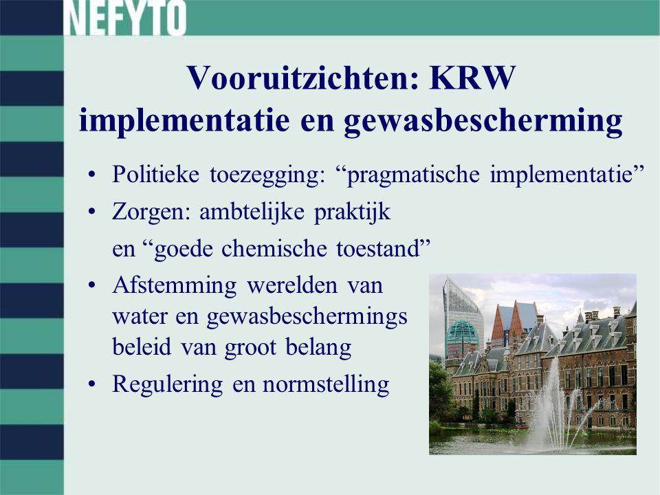 Vooruitzichten: KRW implementatie en gewasbescherming Politieke toezegging: pragmatische implementatie Zorgen: ambtelijke praktijk en goede chemische toestand Afstemming werelden van water en gewasbeschermings beleid van groot belang Regulering en normstelling