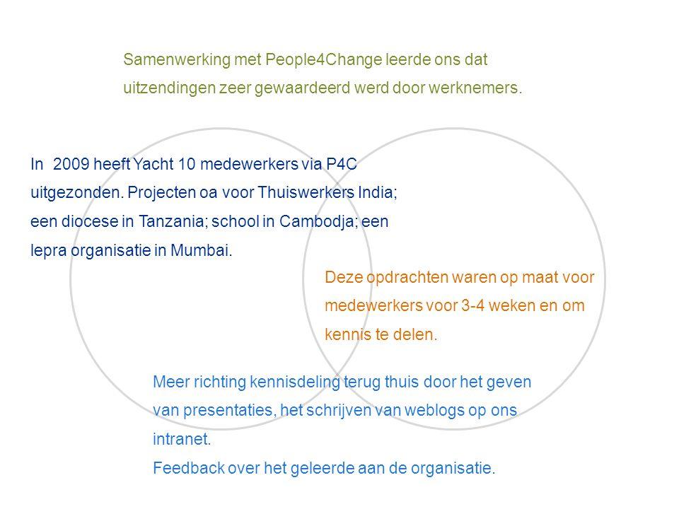 Samenwerking met People4Change leerde ons dat uitzendingen zeer gewaardeerd werd door werknemers. In 2009 heeft Yacht 10 medewerkers via P4C uitgezond