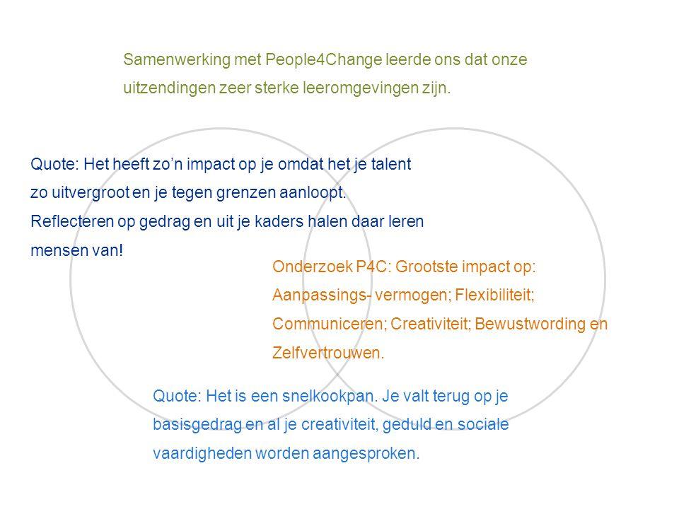 Samenwerking met People4Change leerde ons dat onze uitzendingen zeer sterke leeromgevingen zijn. Quote: Het heeft zo'n impact op je omdat het je talen