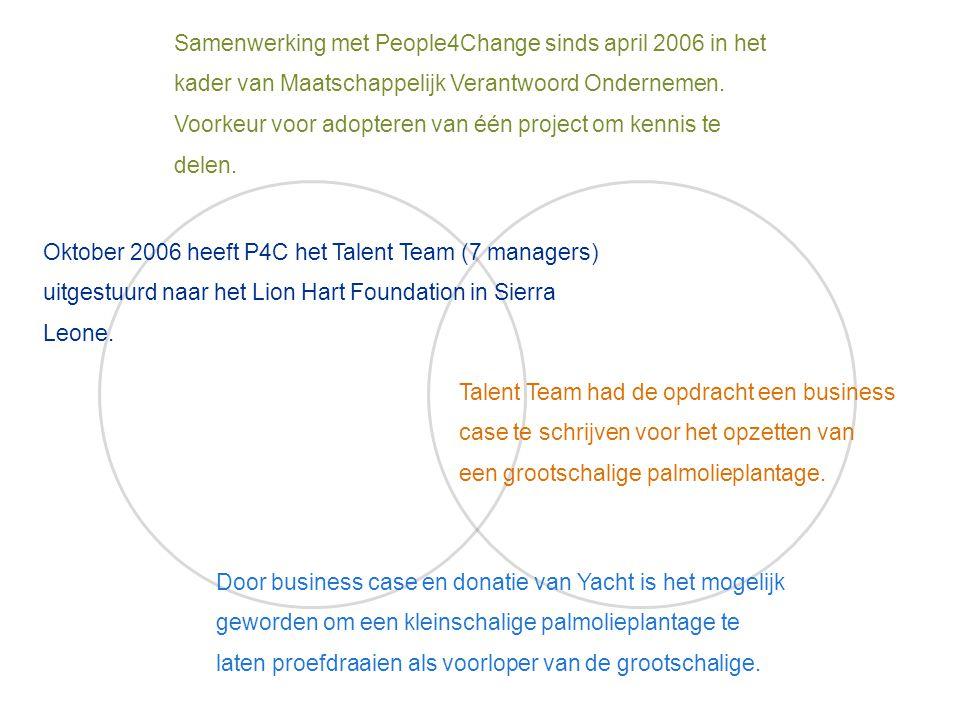 Samenwerking met People4Change sinds april 2006 in het kader van Maatschappelijk Verantwoord Ondernemen. Voorkeur voor adopteren van één project om ke