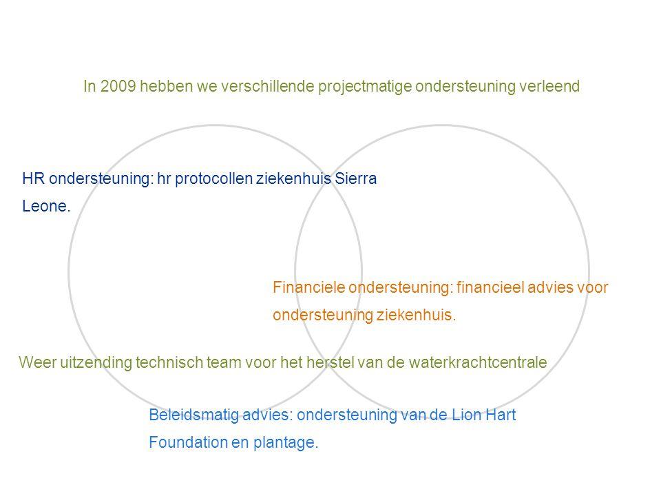 In 2009 hebben we verschillende projectmatige ondersteuning verleend HR ondersteuning: hr protocollen ziekenhuis Sierra Leone. Financiele ondersteunin
