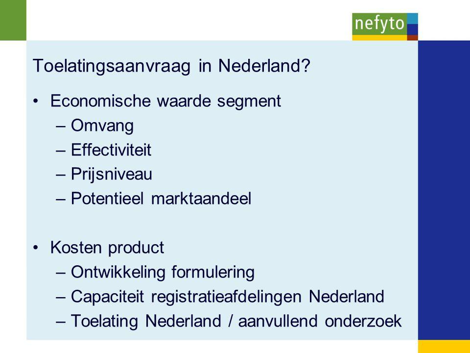 Toelatingsaanvraag in Nederland? Economische waarde segment –Omvang –Effectiviteit –Prijsniveau –Potentieel marktaandeel Kosten product –Ontwikkeling