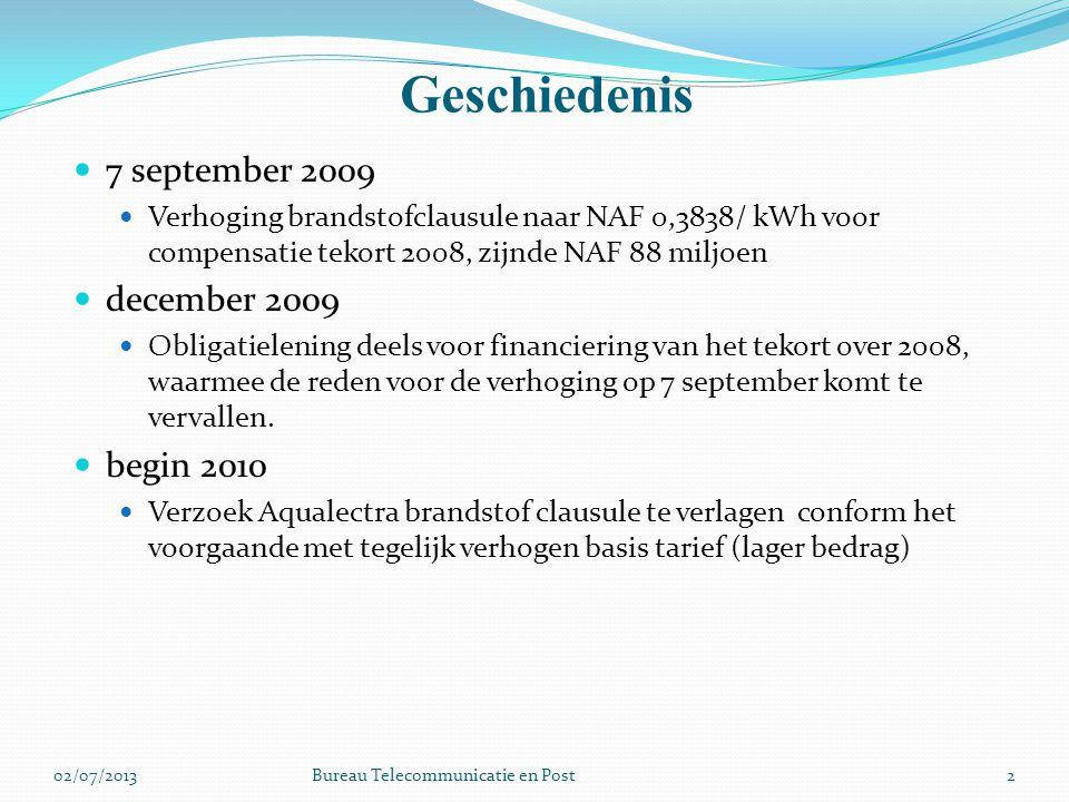 Geschiedenis 2 7 september 2009 Verhoging brandstofclausule naar NAF 0,3838/ kWh voor compensatie tekort 2008, zijnde NAF 88 miljoen december 2009 Obligatielening deels voor financiering van het tekort over 2008, waarmee de reden voor de verhoging op 7 september komt te vervallen.