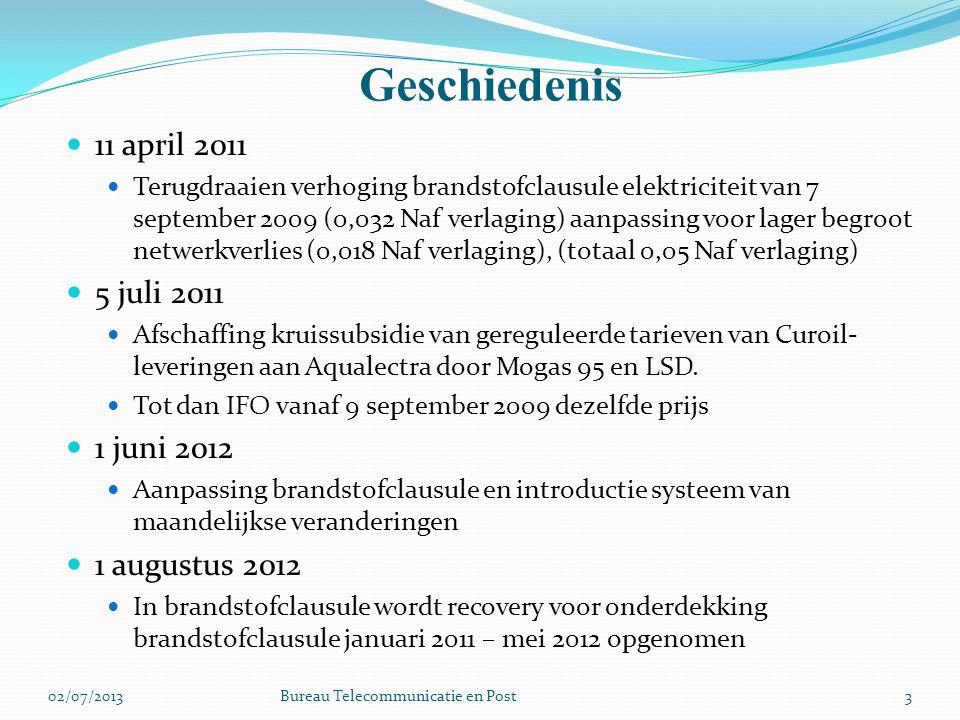 Geschiedenis 3 11 april 2011 Terugdraaien verhoging brandstofclausule elektriciteit van 7 september 2009 (0,032 Naf verlaging) aanpassing voor lager begroot netwerkverlies (0,018 Naf verlaging), (totaal 0,05 Naf verlaging) 5 juli 2011 Afschaffing kruissubsidie van gereguleerde tarieven van Curoil- leveringen aan Aqualectra door Mogas 95 en LSD.