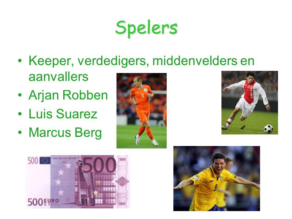 Spelers Keeper, verdedigers, middenvelders en aanvallers Arjan Robben Luis Suarez Marcus Berg