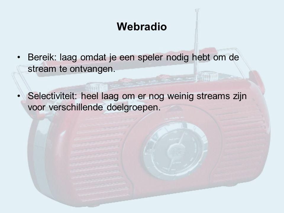 Webradio Bereik: laag omdat je een speler nodig hebt om de stream te ontvangen.