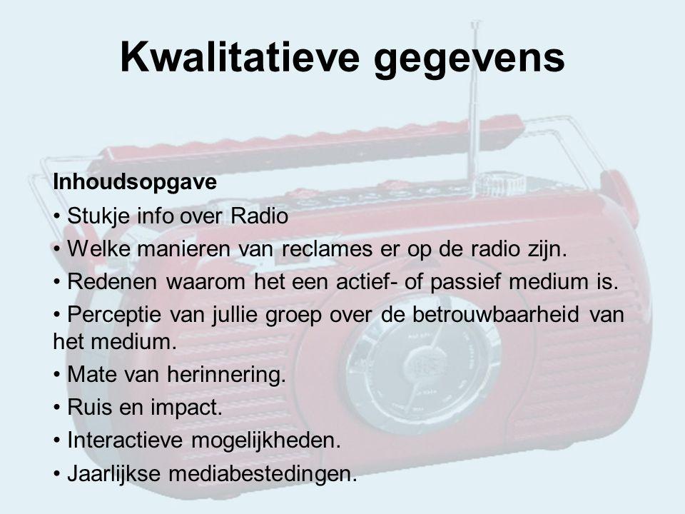 Inhoudsopgave Stukje info over Radio Welke manieren van reclames er op de radio zijn.