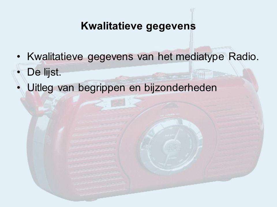Kwalitatieve gegevens Kwalitatieve gegevens van het mediatype Radio.