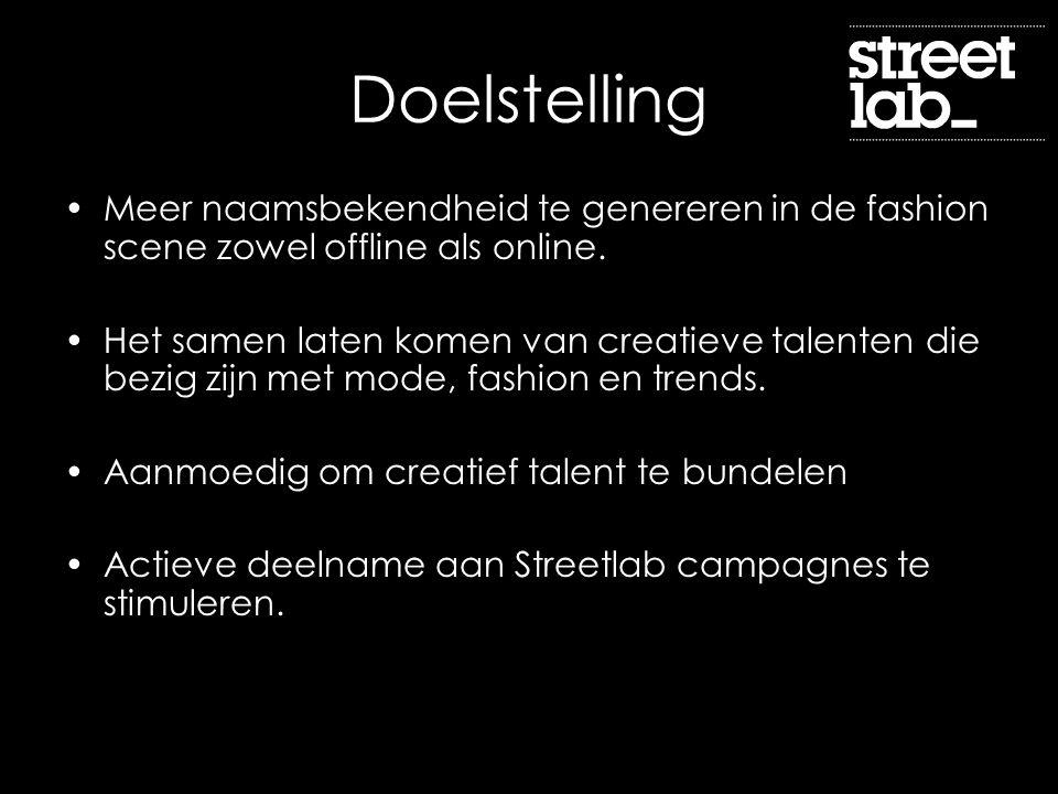 Doelstelling Meer naamsbekendheid te genereren in de fashion scene zowel offline als online. Het samen laten komen van creatieve talenten die bezig zi