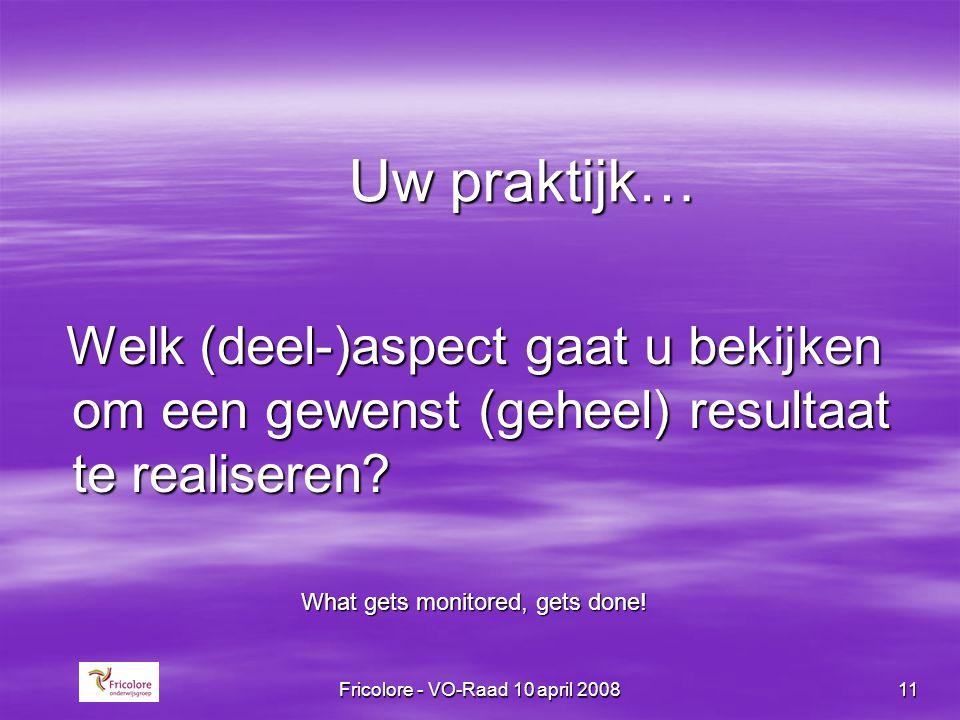 Fricolore - VO-Raad 10 april 200811 Uw praktijk… Welk (deel-)aspect gaat u bekijken om een gewenst (geheel) resultaat te realiseren? Welk (deel-)aspec