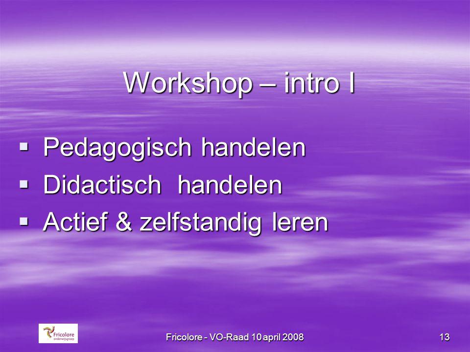 Fricolore - VO-Raad 10 april 200813 Workshop – intro I  Pedagogisch handelen  Didactisch handelen  Actief & zelfstandig leren
