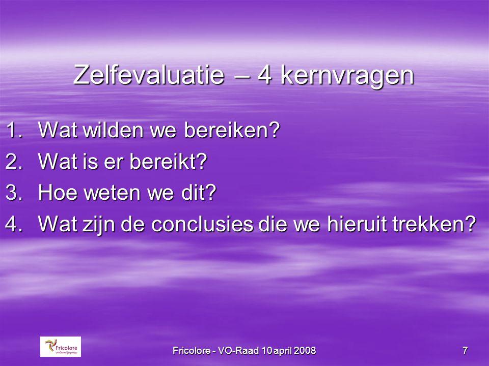 Fricolore - VO-Raad 10 april 20088 Thema's zelfevaluatie  Kwaliteit onderwijsleerproces*  Opbrengsten onderwijsleerproces*  Kwaliteit schoolklimaat  Kwaliteit onderwijsaanbod, incl.