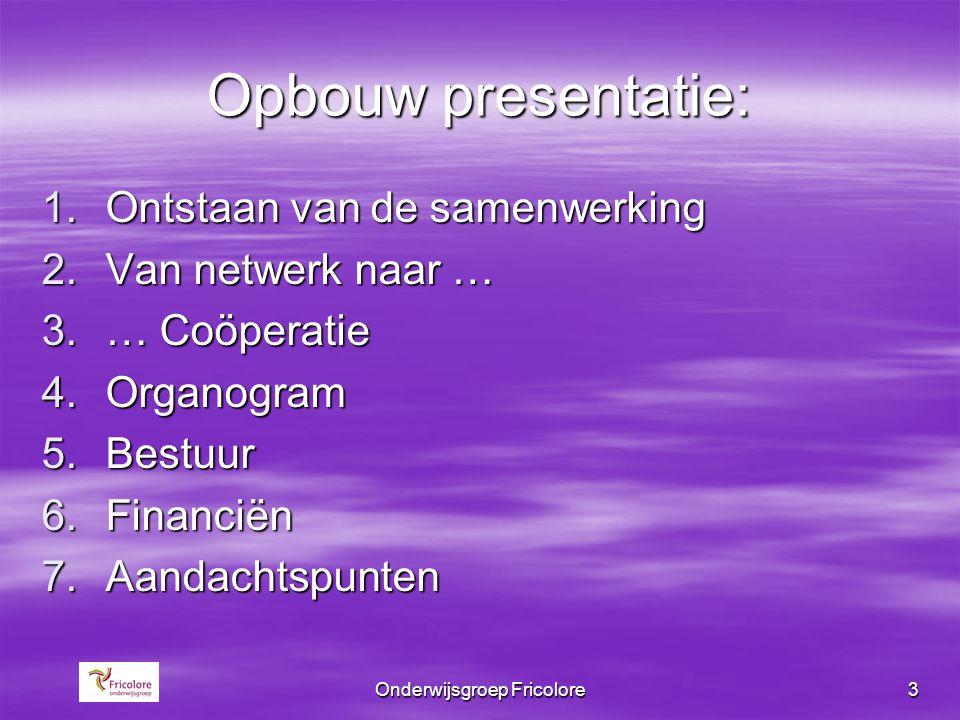 Onderwijsgroep Fricolore3 Opbouw presentatie: 1.Ontstaan van de samenwerking 2.Van netwerk naar … 3.… Coöperatie 4.Organogram 5.Bestuur 6.Financiën 7.