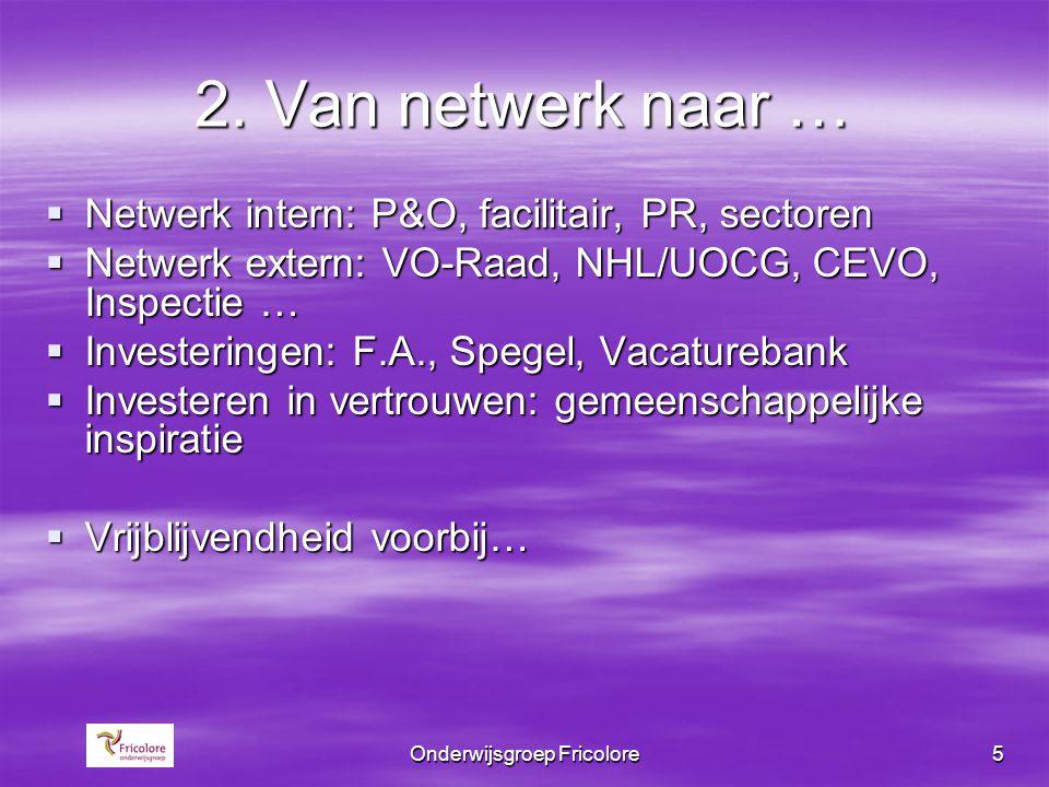 Onderwijsgroep Fricolore5 2. Van netwerk naar …  Netwerk intern: P&O, facilitair, PR, sectoren  Netwerk extern: VO-Raad, NHL/UOCG, CEVO, Inspectie …