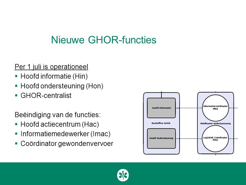 Nieuwe GHOR-functies Per 1 juli is operationeel  Hoofd informatie (Hin)  Hoofd ondersteuning (Hon)  GHOR-centralist Beëindiging van de functies: 
