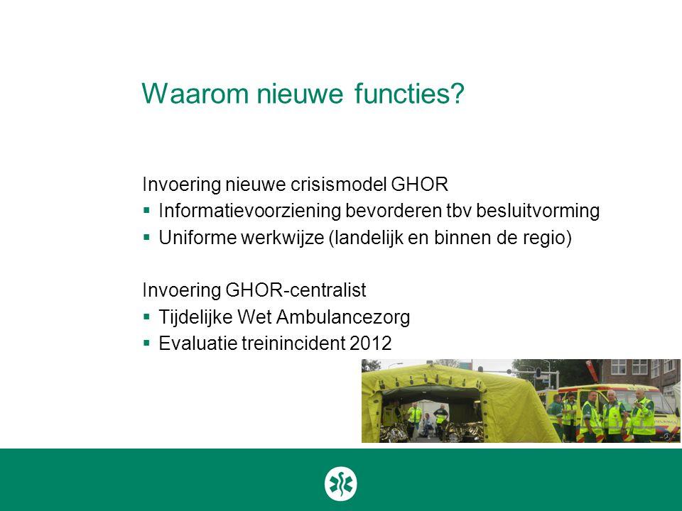 Waarom nieuwe functies? Invoering nieuwe crisismodel GHOR  Informatievoorziening bevorderen tbv besluitvorming  Uniforme werkwijze (landelijk en bin