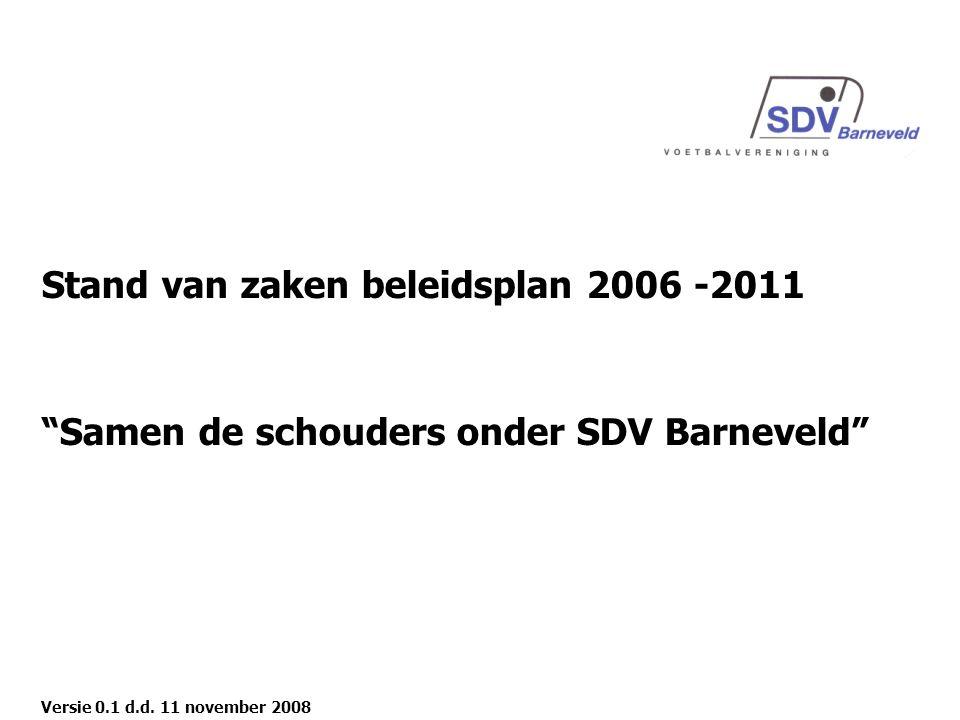 Stand van zaken beleidsplan 2006 -2011 Samen de schouders onder SDV Barneveld Versie 0.1 d.d.