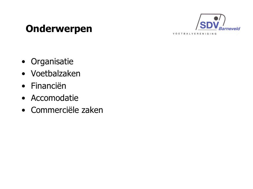 Organisatie Voetbalzaken Financiën Accomodatie Commerciële zaken Onderwerpen