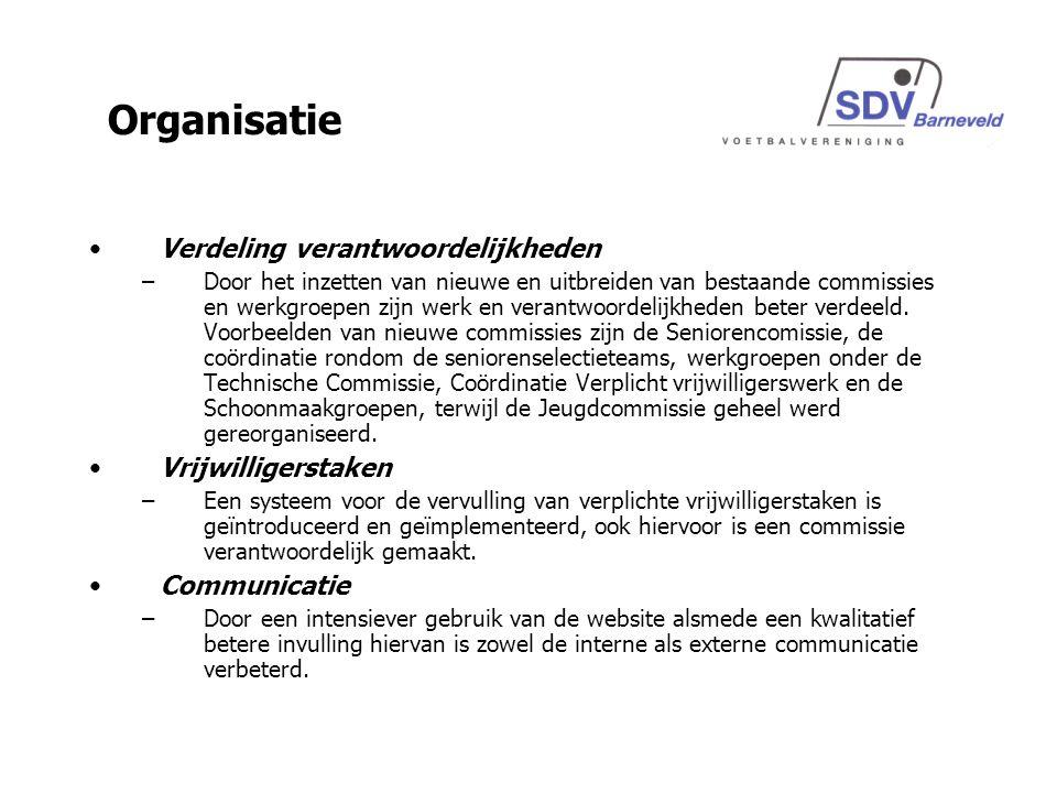 Verdeling verantwoordelijkheden –Door het inzetten van nieuwe en uitbreiden van bestaande commissies en werkgroepen zijn werk en verantwoordelijkheden beter verdeeld.