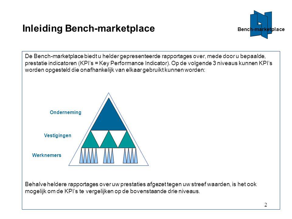 2 Inleiding Bench-marketplace De Bench-marketplace biedt u helder gepresenteerde rapportages over, mede door u bepaalde, prestatie indicatoren (KPI's = Key Performance Indicator).
