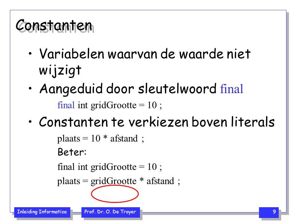 Inleiding Informatica Prof.Dr. O. De Troyer 10 Voorrangsregels en haken 5 + 3 * 2 8 * 2 of 5 + 6 .