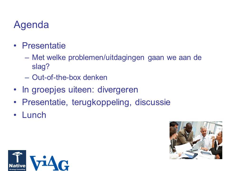 Agenda Presentatie –Met welke problemen/uitdagingen gaan we aan de slag? –Out-of-the-box denken In groepjes uiteen: divergeren Presentatie, terugkoppe