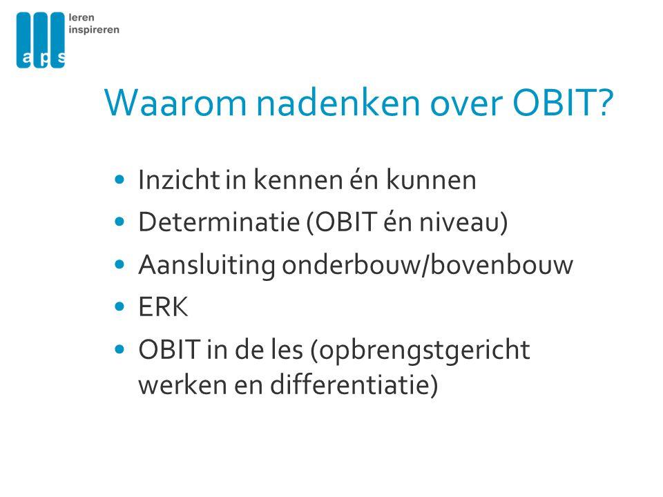 Waarom nadenken over OBIT? Inzicht in kennen én kunnen Determinatie (OBIT én niveau) Aansluiting onderbouw/bovenbouw ERK OBIT in de les (opbrengstgeri
