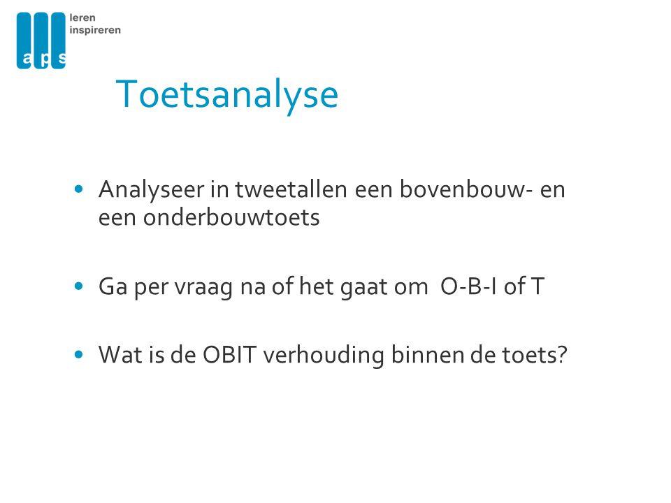 Toetsanalyse Analyseer in tweetallen een bovenbouw- en een onderbouwtoets Ga per vraag na of het gaat om O-B-I of T Wat is de OBIT verhouding binnen d