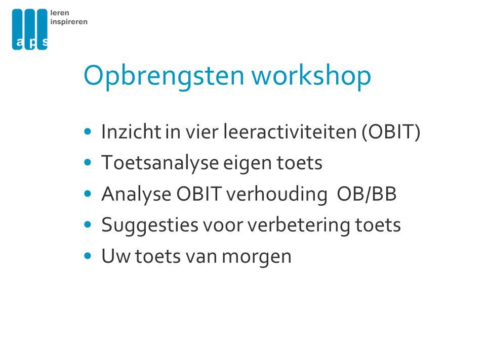 Inzicht in vier leeractiviteiten (OBIT) Toetsanalyse eigen toets Analyse OBIT verhouding OB/BB Suggesties voor verbetering toets Uw toets van morgen O