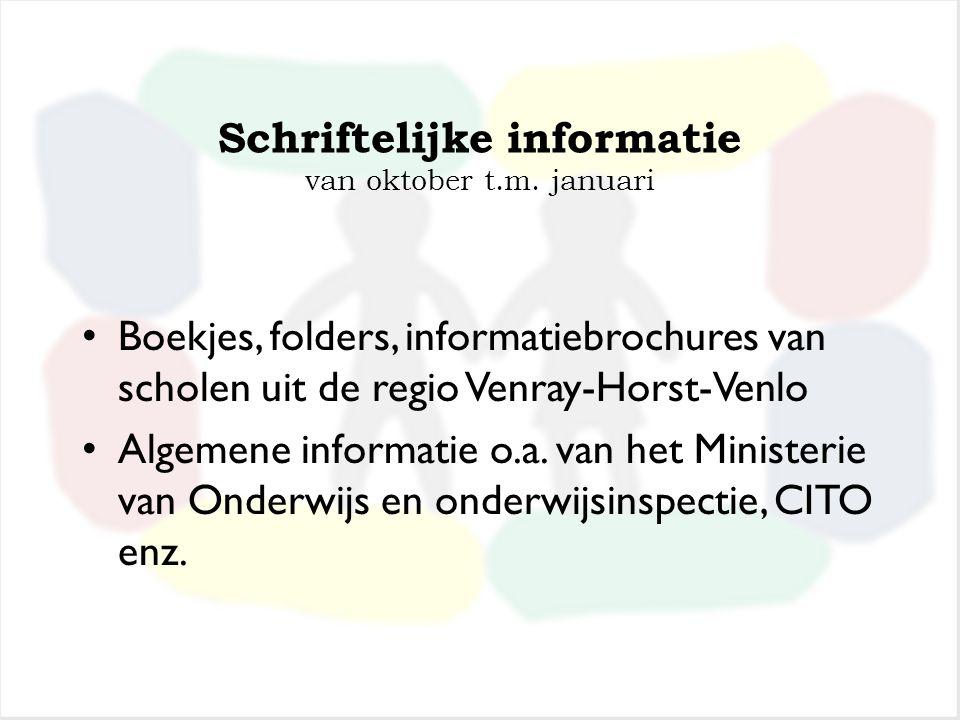 Stap 3: Informatie over het VO november Schriftelijke informatie Lessen Voortgezet Onderwijs in groep 8 en vragen van kinderen Bezoek aan de diverse s