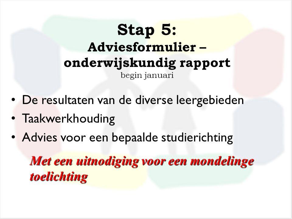 Stap 4: Inschatting advies begin januari. Leerkrachten van groep 7 en 8 Interne begeleider Directeur Dit is het advies van onze basisschool
