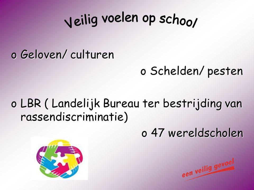 oGeloven/ culturen oSchelden/ pesten oLBR ( Landelijk Bureau ter bestrijding van rassendiscriminatie) o47 wereldscholen