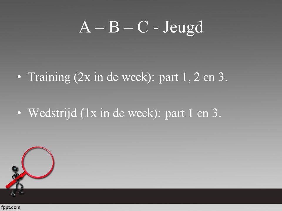 A – B – C - Jeugd Training (2x in de week): part 1, 2 en 3. Wedstrijd (1x in de week): part 1 en 3.