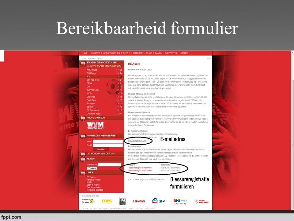 Traject na registratieformulier 1.Ingevuld formulier opsturen naar E-mailadres.