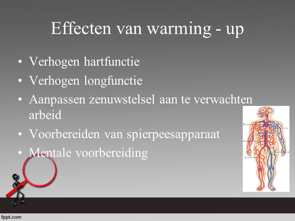 Effecten van warming - up Verhogen hartfunctie Verhogen longfunctie Aanpassen zenuwstelsel aan te verwachten arbeid Voorbereiden van spierpeesapparaat