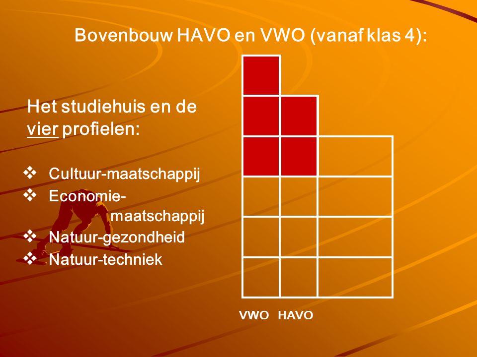 Bovenbouw HAVO en VWO (vanaf klas 4): Het studiehuis en de vier profielen:  Cultuur-maatschappij  Economie- maatschappij  Natuur-gezondheid  Natuu