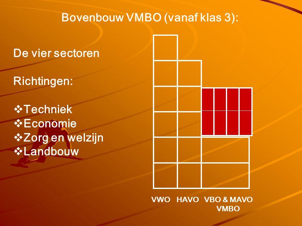 Bovenbouw VMBO (vanaf klas 3): De vier sectoren Richtingen:  Techniek  Economie  Zorg en welzijn  Landbouw VWOHAVOVBO & MAVO VMBO