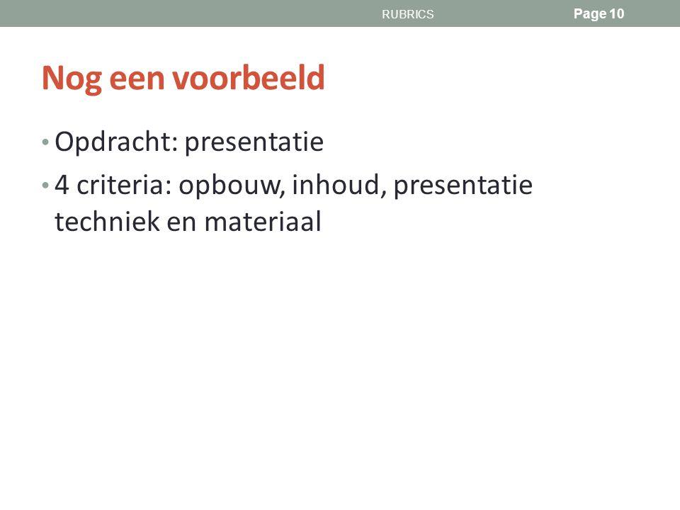 Nog een voorbeeld Opdracht: presentatie 4 criteria: opbouw, inhoud, presentatie techniek en materiaal RUBRICS Page 10