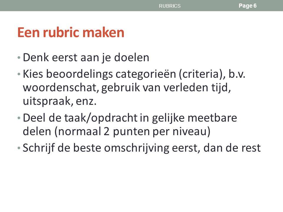 Een rubric maken Denk eerst aan je doelen Kies beoordelings categorieën (criteria), b.v.