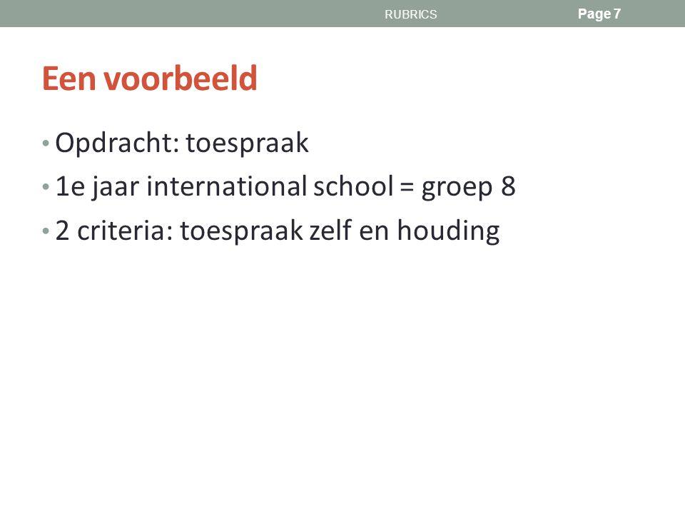 Een voorbeeld Opdracht: toespraak 1e jaar international school = groep 8 2 criteria: toespraak zelf en houding RUBRICS Page 7