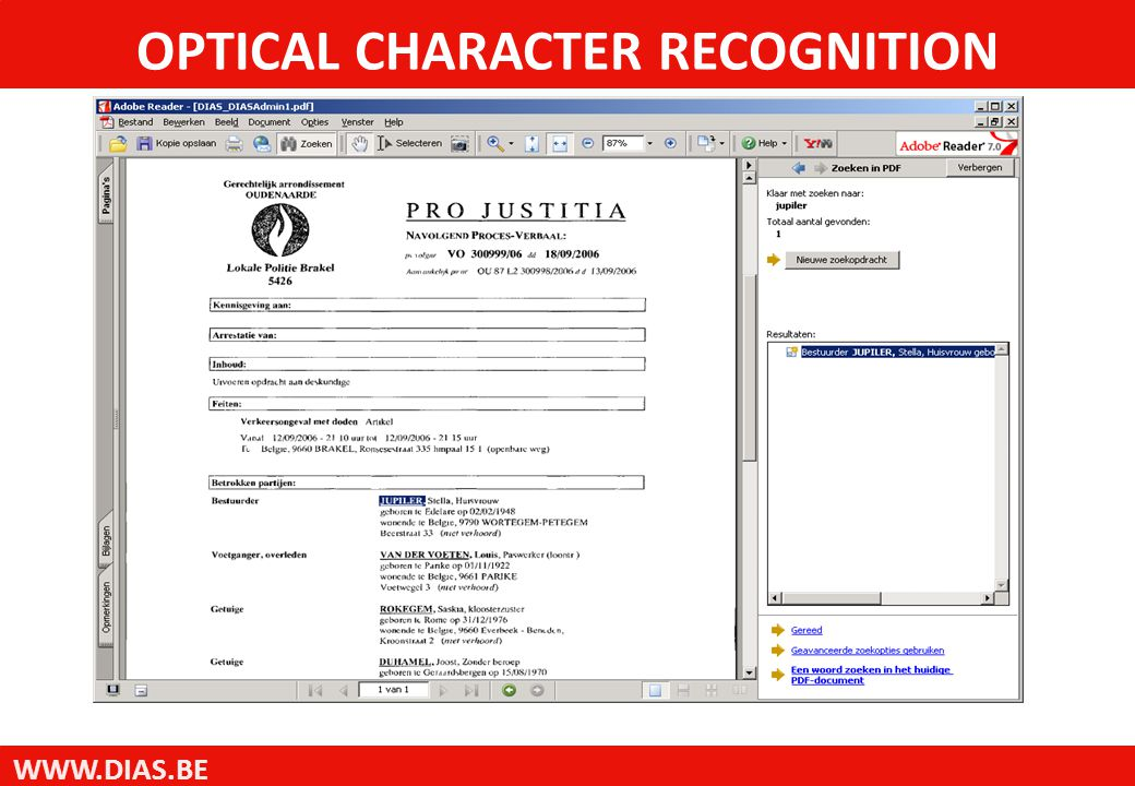 WWW.DIAS.BE OPTICAL CHARACTER RECOGNITION